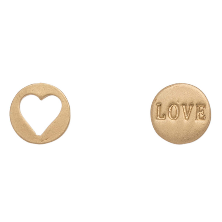 Nickel Free Gold Cutout Heart and Love Earring