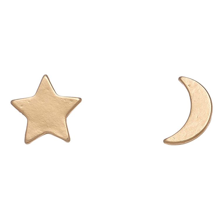 Nickel Free Gold Moon and Star Stud Earrings