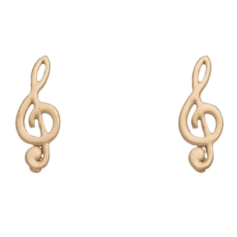Nickel Free Gold Treble Clef Stud Earrings