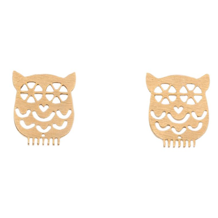 Nickel Free Gold Owl Stud Earrings