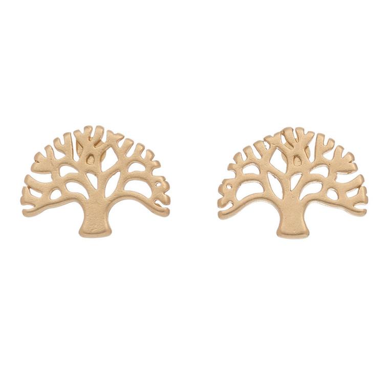 Nickel Free Gold Tree of Life Stud Earrings