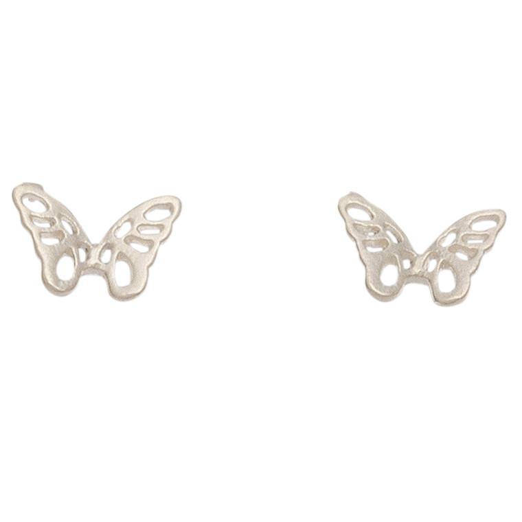 Nickel Free Silver Butterfly Stud Earrings