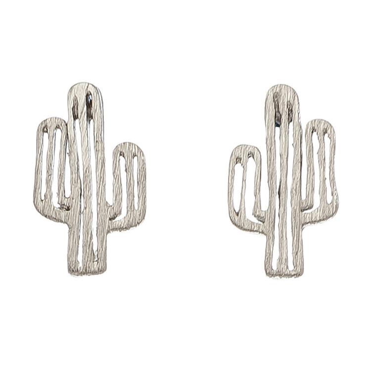 Nickel Free Silver Cactus Stud Earrings