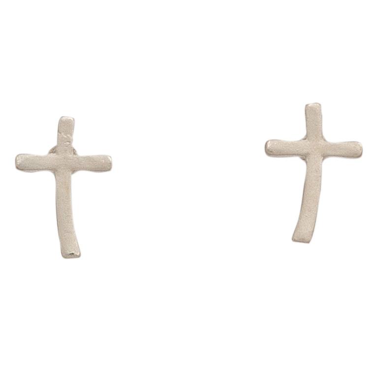 Nickel Free Silver Cross Stud Earrings