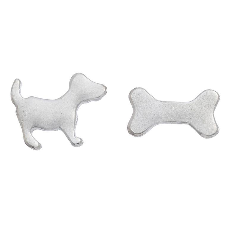 Nickel Free Silver Dog and Bone Stud Earrings
