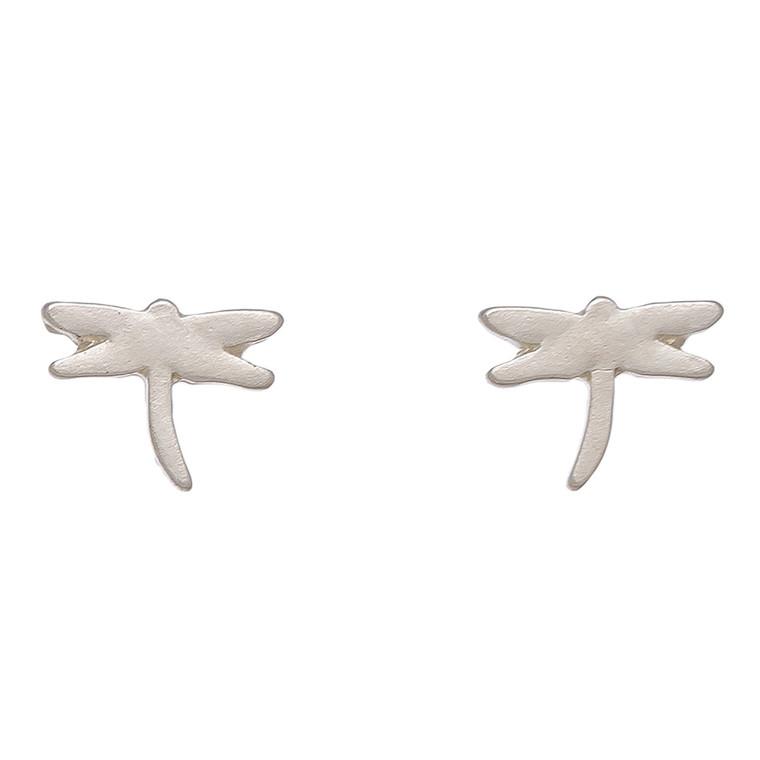 Nickel Free Silver Dragonfly Stud Earrings