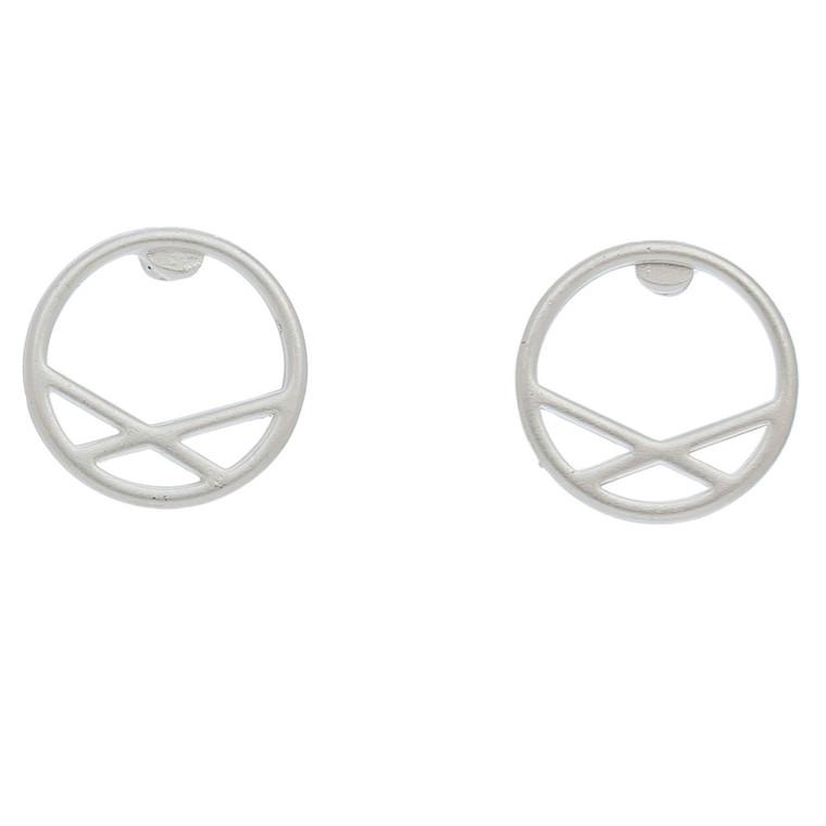 Nickel Free Silver Circle with Lines Stud Earrings
