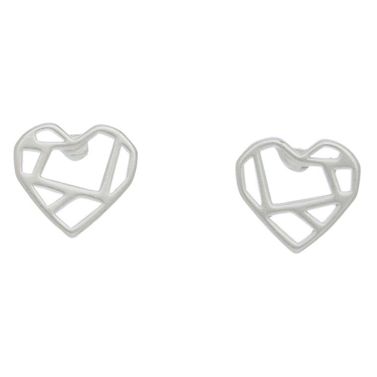 Nickel Free Silver Heart with Lines Stud Earrings