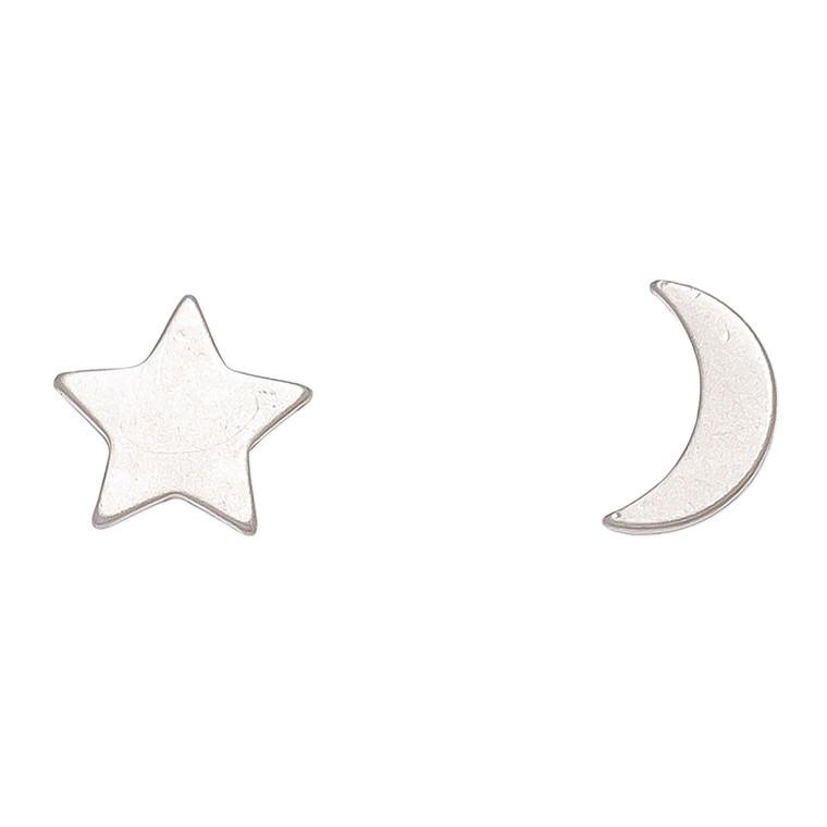 Nickel Free Silver Moon and Star Stud Earrings