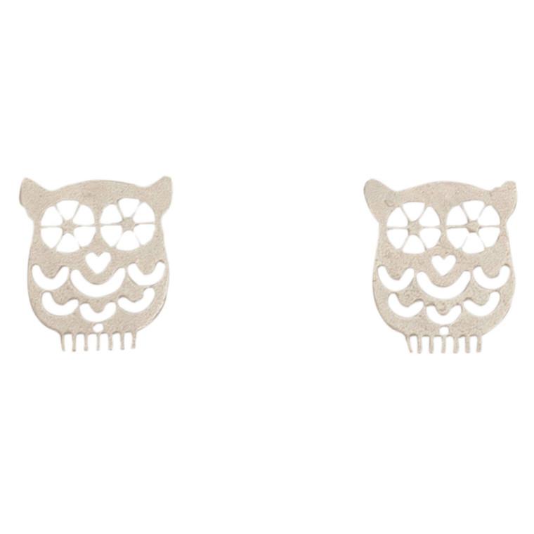 Nickel Free Silver Owl Stud Earrings