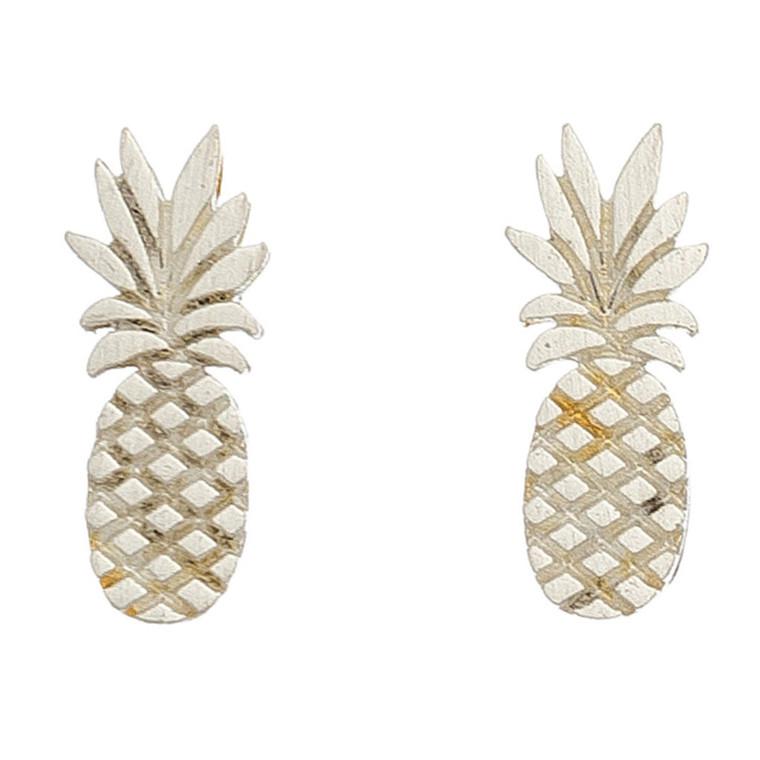 Nickel Free Silver Pineapple Stud Earrings
