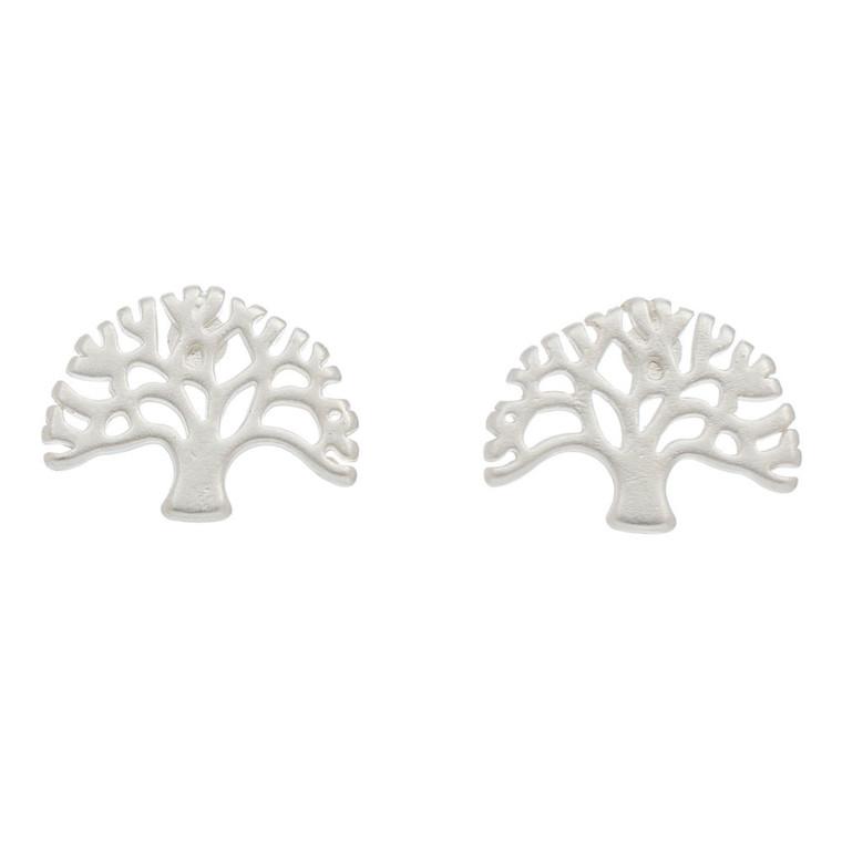 Nickel Free Silver Tree of Life Stud Earrings
