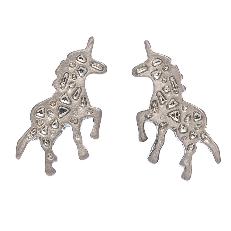 Nickel Free Silver Unicorn Stud Earrings