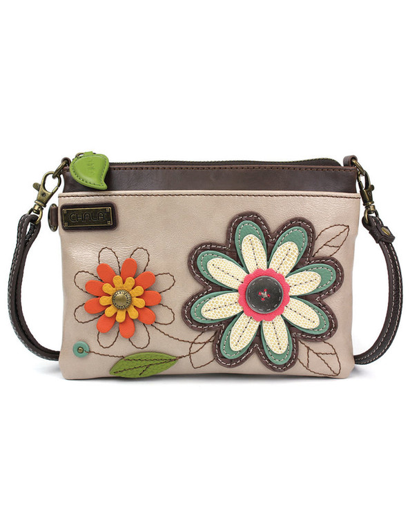 """Convenient, Versatile, Compact  Front zipper pocket adorned with the Daisy design Detailed stitching Rear slide pocket 3 credit card slots inside 2 Adjustable straps that are detachable Top zippered pocket Patterned fabric lining with inner slide and zipper pockets  Materials used: Faux Leather Color: Ivory Approx. Measurements: 8"""" x 0.5"""" x 6"""" Strap adjustable: 7""""~30"""""""