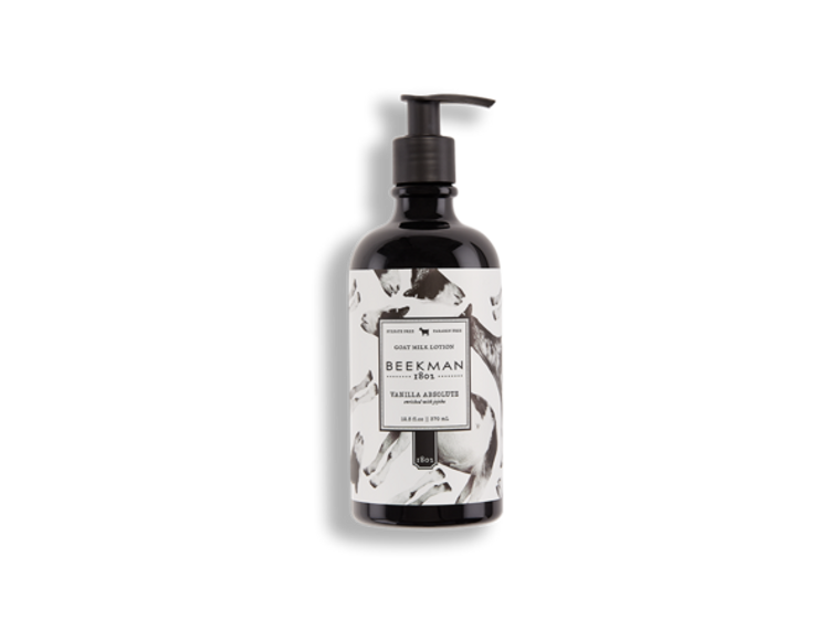 Kids of both the four-footed and two-footed kind recognize the delicious smell of vanilla. Our compound of goat milk and shea butter nourish hands back to silky perfection while notes of warm vanilla and undertones of sandalwood leave an irresistible aroma. Lotion comes in a 12 ½ oz bottle.