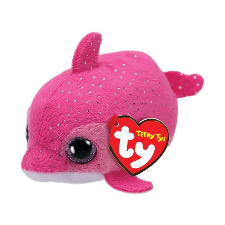 Floater the dolphin has pink, sparkly fur and glittery pink eyes. Teeny Tys are a collection of pocket-sized critters that you can take everywhere with you! Extra soft fur and Beanie filled bottoms make these stackable little animal friends irresistible.