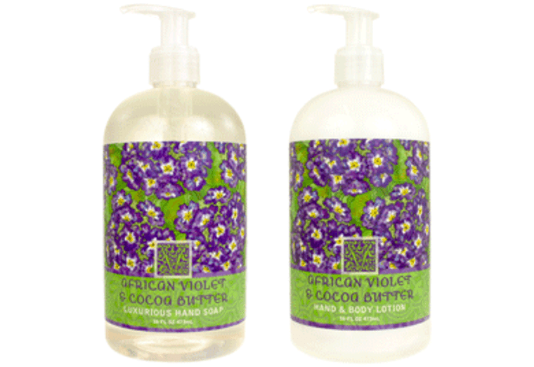 AFRICAN VIOLET & COCOA BUTTER hand soap or shea butter lotion, enriched with shea butter & cocoa butter.  16 oz. pump bottle