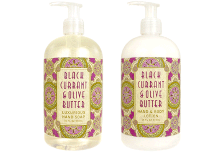 BLACK CURRANT & OLIVE BUTTER hand soap or shea butter lotion, enriched with shea butter, cocoa butter, black currant butter & olive butter  16 oz. pump bottle