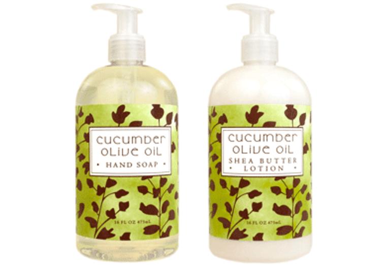 CUCUMBER OLIVE OIL hand soap or shea butter lotion, enriched with shea butter, cocoa butter, cucumber oil & virgin olive oil  16 oz. pump bottle