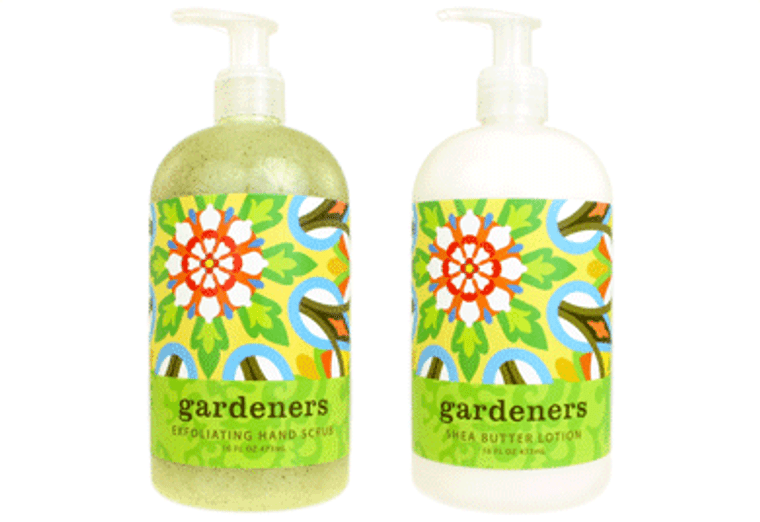 GARDENERS hand scrub enriched with botanical oils & extracts and blended with exfoliating loofah & apricot seed; shea butter lotion, enriched with shea butter & cocoa butter  16 oz. pump bottle