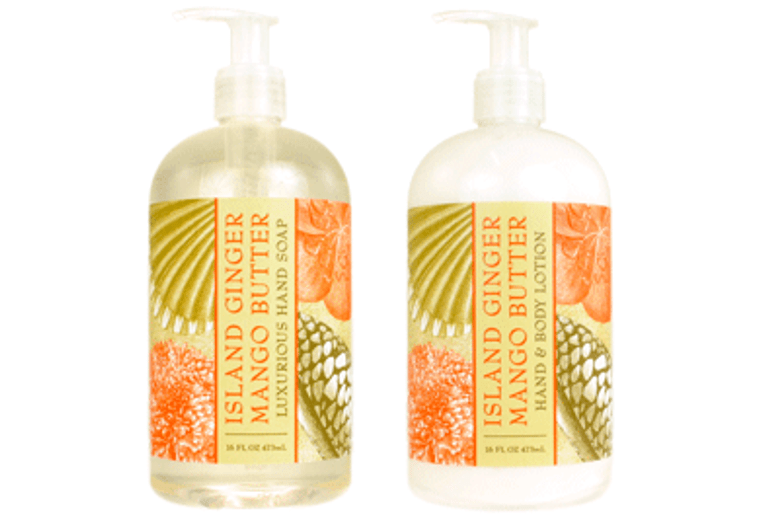 ISLAND GINGER MANGO BUTTER hand soap or shea butter lotion, enriched with shea butter, cocoa butter & mango butter  16 oz. pump bottle