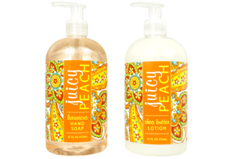 JUICY PEACH hand soap or shea butter lotion enriched with shea butter & cocoa butter  16 oz. pump bottle