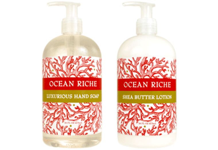 OCEAN RICHE hand soap or shea butter lotion enriched with shea butter & cocoa butter  16 oz. pump bottle