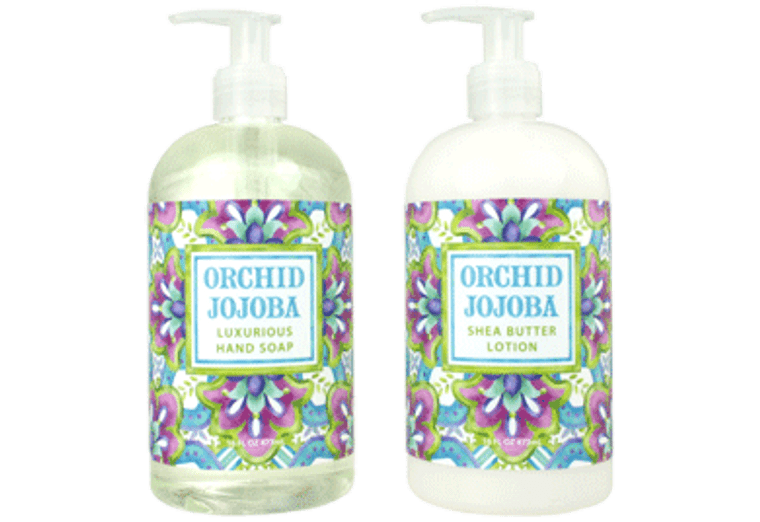 ORCHID JOJOBA hand soap or cocoa butter & jojoba oil; shea butter lotion, enriched with shea butter, cocoa butter & jojoba butter  16 oz. pump bottle