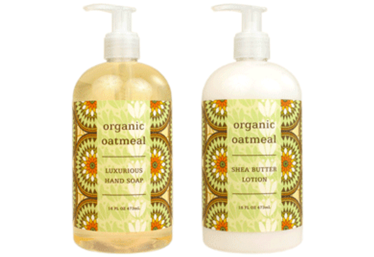 ORGANIC OATMEAL hand soap or shea butter lotion, enriched with shea butter, cocoa butter & organic oatmeal extract  16 oz. pump bottle