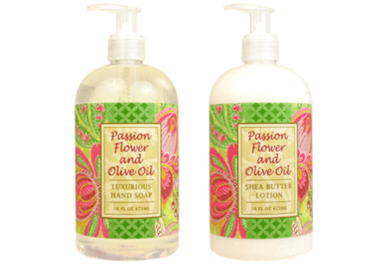 PASSION FLOWER AND OLIVE OIL hand soap or shea butter lotion enriched with shea butter, cocoa butter & virgin olive oil  16 oz. pump bottle