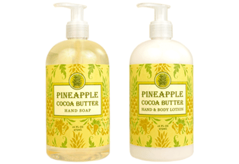 PINEAPPLE COCOA BUTTER hand soap or shea butter lotion, enriched with shea butter & cocoa butter  16 oz. pump bottle