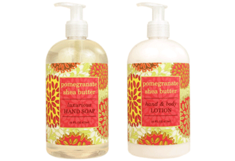 POMEGRANATE SHEA BUTTER hand soap or shea butter lotion enriched with shea butter, cocoa butter & pomegranate oil  16 oz. pump bottle
