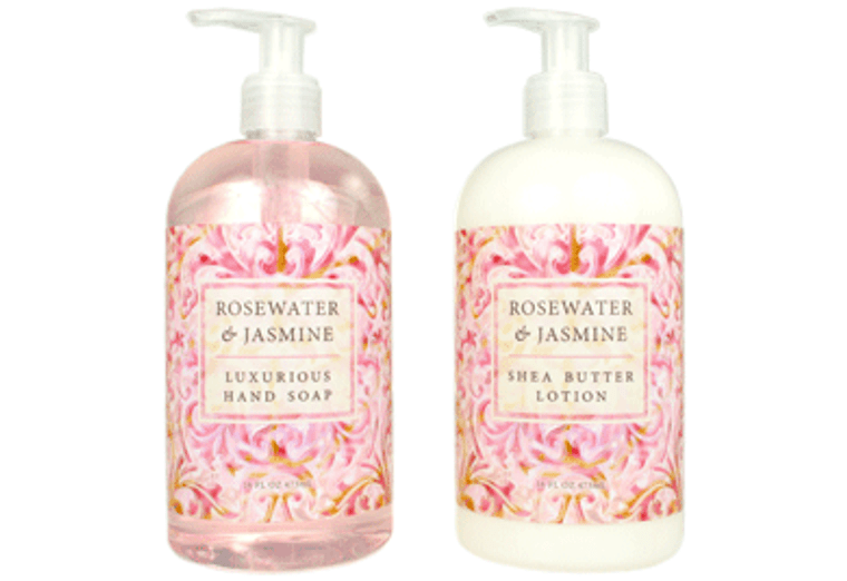 ROSEWATER & JASMINE hand soap or shea butter lotion, enriched with shea butter, cocoa butter and essential oils of rose & jasmine  16 oz. pump bottle