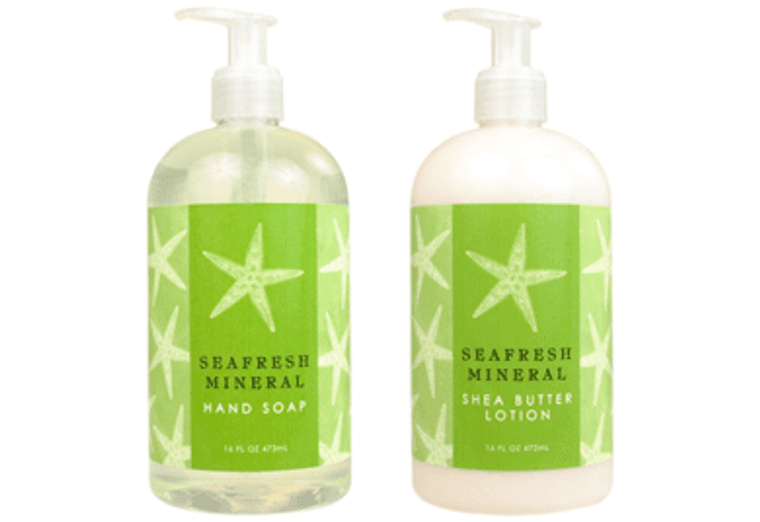 SEAFRESH MINERAL hand soap or shea butter lotion, enriched with shea butter, cocoa butter & ocean minerals  16 oz. pump bottle