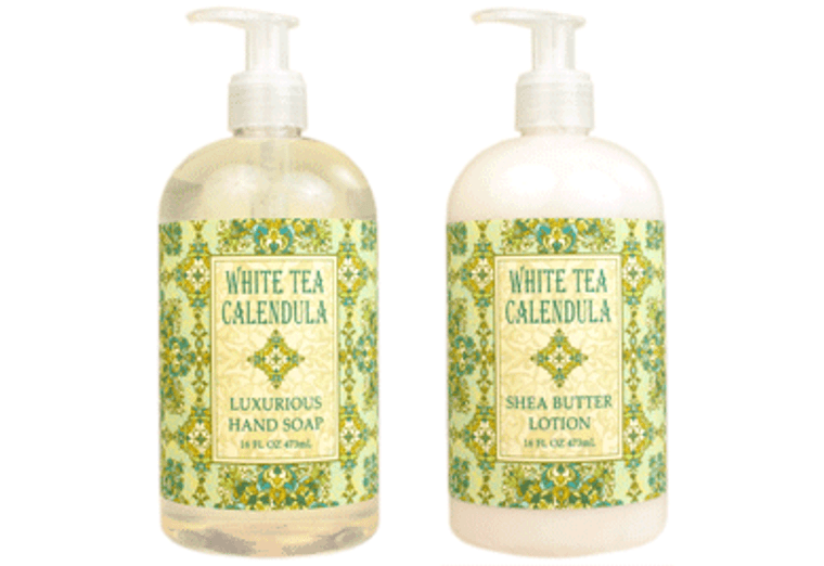 WHITE TEA CALENDULA hand soap or shea butter lotion, enriched with shea butter, cocoa butter & white tea extracts  16 oz. pump bottle