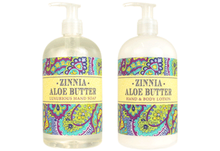 ZINNIA ALOE BUTTER hand soap or shea butter lotion, enriched with shea butter, cocoa butter & aloe butter  16 oz. pump bottle