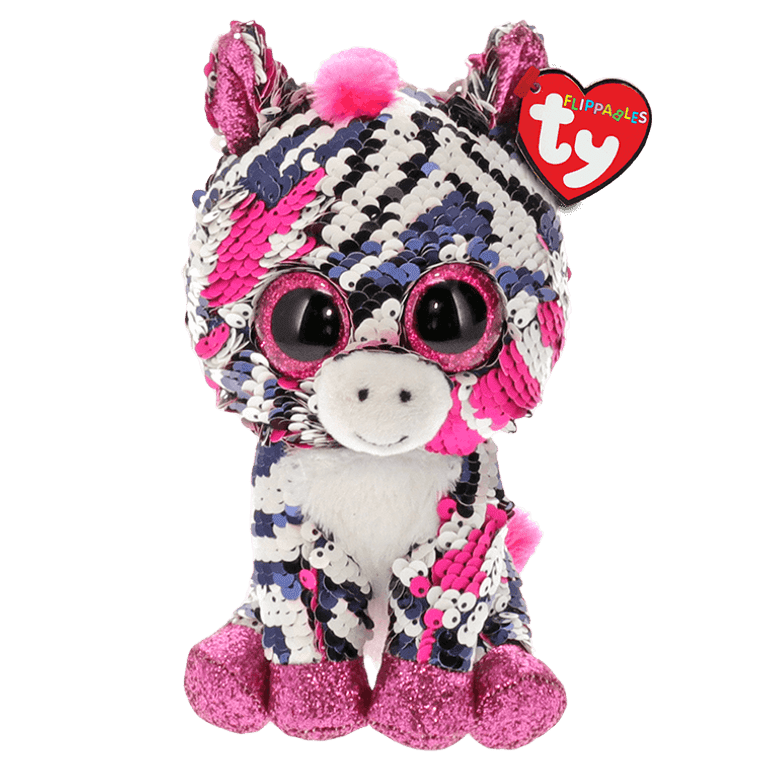Zounds! It's Zoey the zebra, all decked out in her new sparkle attire! Covered in shimmering, reversible sequins, Zoey is ready to change her outfit with the sweep of your hand. Add her to your Flippables collection today!  BIRTHDAY:  April 18  POEM:  Hello...I am Zoey, Africa is my home My zig zag stripes keep me safe as I roam!