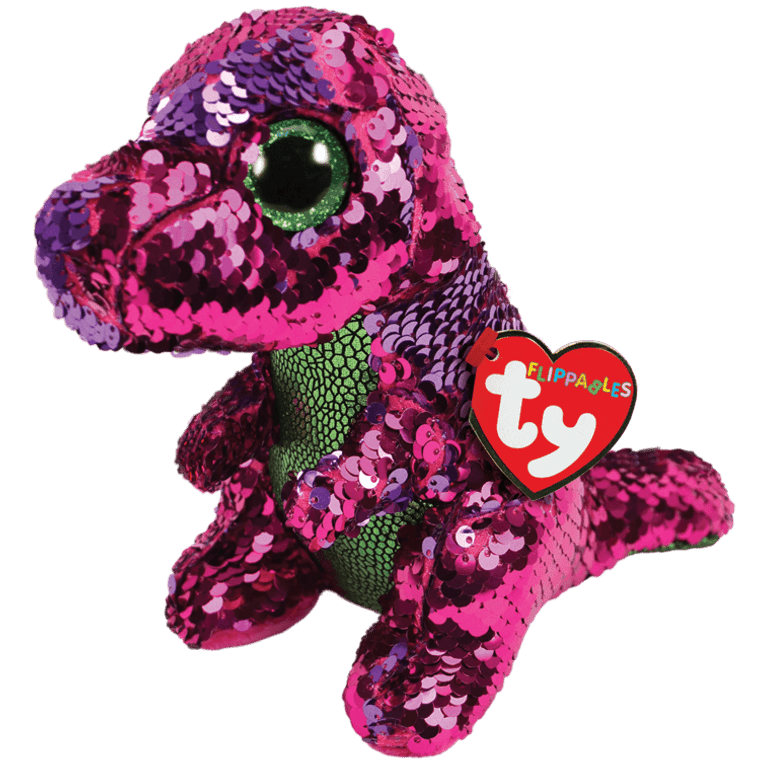 Though Stompy's looks are pretty scary, she prefers leaves to meat or dairy. This bright pink dinosaur turns into the most precious purple with just a brush of your hand. Add her to your Flippables collection today!  BIRTHDAY:  November 26  POEM:  I stomp through the land with my shiny big feet Looking for bright green leaves to eat!