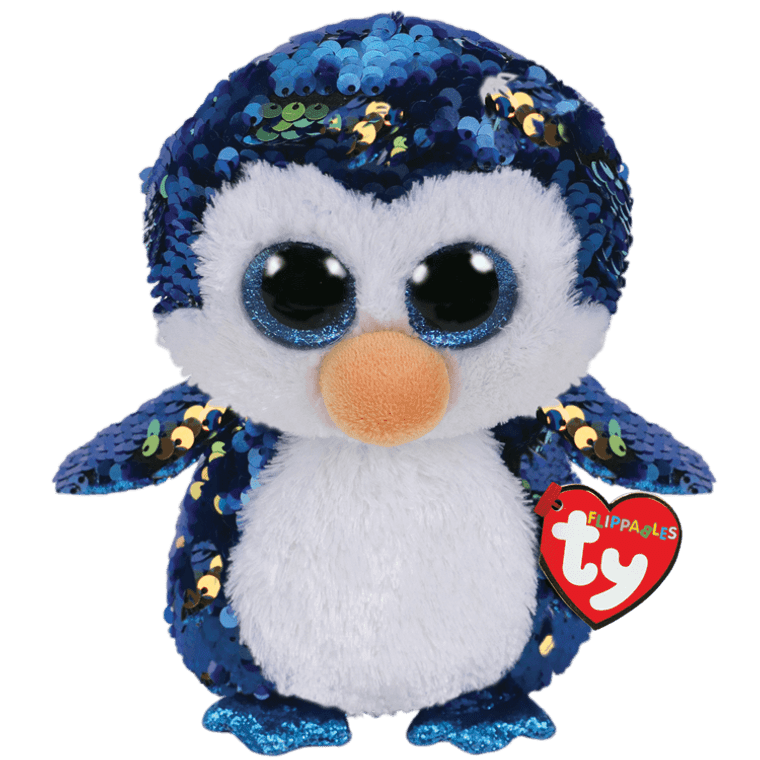 Payton, the penguin, is blue like the sea, she's covered in sequins that flip easily. Her Boo eyes, they sparkle, as she waddles and walks. She'll listen intently whenever you talk. This adorable penguin would just like to say, she's happy to meet you and wants to go play.  BIRTHDAY:  January 20  POEM:  When I waddle down the street I dazzle everyone I meet.