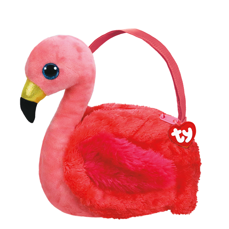 Bright pink and plush is this flamingo purse. Gilda loves it most, of course! Take this flamboyant flamingo with you wherever you go, whether sun or rain or snow!  POEM:  I like to tell jokes and act real silly I am funnier than my brother Billy!  Gorgeous and fashionable Beanie Boo purse comes with soft, furry face Sparkly Glitter Eyes Adjustable strap The prettiest pink around Great to stand out in the crowd Top-zip closure with Ty Tassel pull Lined interior with color-coordinated prints Includes official Ty Heart with poem Surface clean only 9 x 7 x 2in
