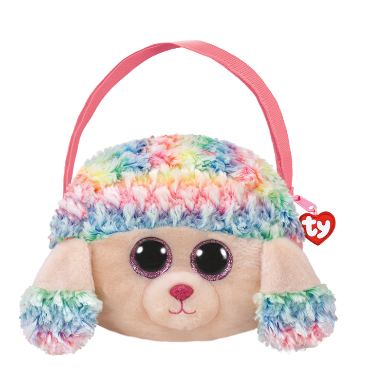 I'm the poodle purse you'll love to carry. My name is Rainbow and I'm not hairy. I'm soft and sweet and quite divine with eyes that glitter all the time. My colors are many so you won't have to choose, I can match any outfit including your shoes.  POEM:  They call me Rainbow because of my hair It has style and flair and it's the coolest to wear!  Gorgeous and fashionable Beanie Boo purse comes with soft, furry face Sparkly Glitter Eyes Adjustable strap Colorful purse stands out among the crowd Fancy and fashionable poodle gear! Top-zip closure with Ty Tassel pull Lined interior with color-coordinated prints Includes official Ty Heart with poem Surface clean only 9 x 7 x 2in