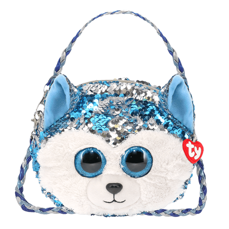 This guard dog is on the job! She's sweet and sparkly and rather nice, even as she walks through the ice! Slush is ready to stow your stuff until you need it. This pup is glad to help!  6 ways to wear Gorgeous and fashionable Beanie Boo purse with color-changing reversible sequins that make Slush glitter Everyone's favorite husky in a sparkly handbag!  Removable and adjustable straps allow for full customization Top-zip closure with Ty Tassel pull Lined interior with color-coordinated prints Gold/silver-toned hardware keeps it all locked up tight! Includes official Ty Heart Surface clean only 9 x 7 x 2 in