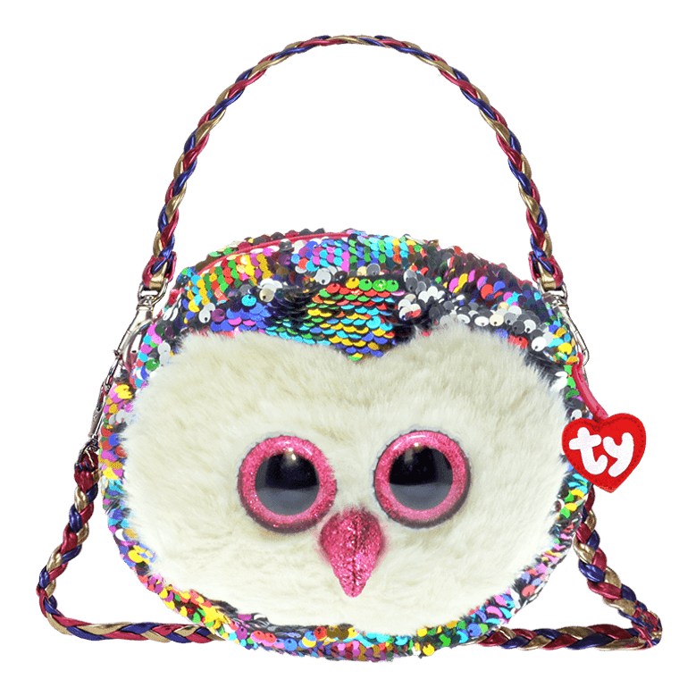 Whooo's looking for a helpful hand Owen's here to help! Ready to hold everything big or small, this sequin-covered Owen purse can hold it all! Our rainbowrific owl pal is the best!  6 ways to wear Gorgeous and fashionable Beanie Boo purse with color-changing reversible sequins Rainbowrific Owen the Owl theme The cutest bird purse in the world  Removable and adjustable straps allow for full customization Top-zip closure with Ty Tassel pull Lined interior with color-coordinated prints Gold/silver-toned hardware keeps it all locked up tight! Includes official Ty Heart Surface clean only 9 x 7 x 2 in