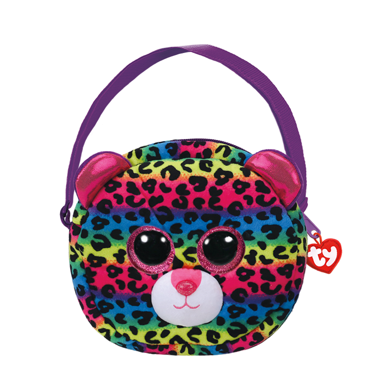 This spotty little leopard cub would like to find someone to love. She's made this little handbag purse, just for her bestest friend of course. Is that you  POEM:  If you stare at my bold colored spots They might start to look like big, crazy dots!  Gorgeous and fashionable Beanie Boo purse comes with soft, furry face Sparkly Glitter Eyes Adjustable strap Top-zip closure with Ty Tassel pull Tough construction makes this handbag last Super Spott just like Dotty Lined interior with color-coordinated prints Includes official Ty Heart with poem Surface clean only 9 x 7 x 2 in