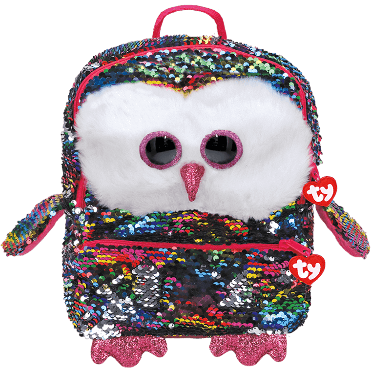 It's a hootin' good time when Owen's around! This rainbow backpack is made in the likeness of Owen the owl, the most colorful bird in all the flock. Show your Ty spirit at school, on the trail, on during your summer vacation with this child-sized backpack!  POEM:  I like to fly high above the trees And feel the crisp cool autumn breeze!  Beanie Boo backpacks are sure to stand out as a class of their own Owen's rainbow colors are on full display with these reversible rainbow sequins! A bright bag for a happy hike Adjustable straps make them perfect for anyone who needs a little sparkle in their travel gear! Top-zip closure with Ty Tassel pull Front zip pocket with Ty Tassel pull Lined interior with color-coordinated prints Includes official Ty Heart Surface clean only 8 x 13 x 4in
