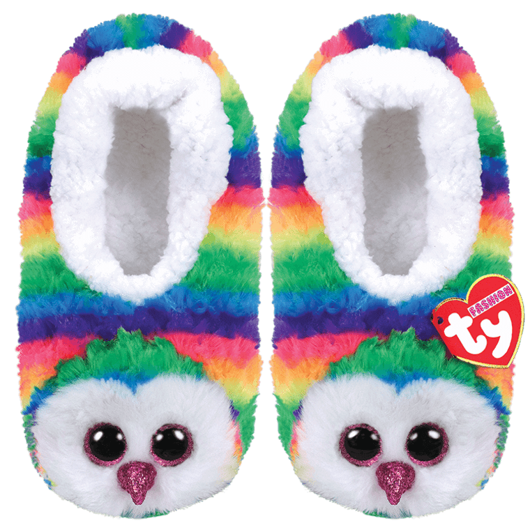 Rainbow bright to standout at night, these slippers are a colorful sight. Wearing these owls with sparkly eyes on cold, damp nights is very wise.  BIRTHDAY:  September 12  POEM:  I like to fly high above the trees And feel the crisp cool autumn breeze!  Snuggly Beanie Boo slippers with Ty Silk fabric Everyone's favorite rainbow owl Colorful and creative! Soft and comfy Sherpa-lined foot bed Easy to slide on for even the smallest hands Sparkly Glitter Eyes Non-skid soles Keep your toes toasty as you relax in style Available in children's S/M/L Includes official Ty Heart with birthday and poem Surface clean only