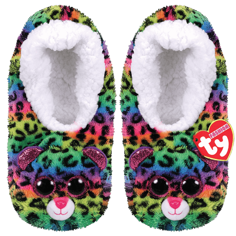 With cute Boo eyes on these slippers and underneath those tiny grippers, a spotty leopard for your feet, is really something pretty neat. So wear these slippers then take a seat, to give your toes a cozy treat.  BIRTHDAY:  June 16  POEM:  If you stare at my bold colored spots They might start to look like big crazy dots !  Snuggly Beanie Boo slippers with Ty Silk fabric Spotty Dotty's covered in rainbows! Sparkly Glitter Eyes Everyone's favorite leopard in a cozy wearable Soft and comfy Sherpa-lined foot bed Easy to slide on for even the smallest hands Non-skid soles Keep your toes toasty as you relax in style Available in children's S/M/L Includes official Ty Heart with birthday and poem Surface clean only