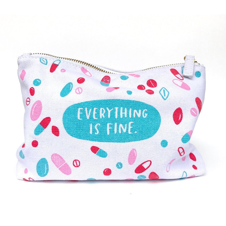 """We know you're fine, but this pouch will help you keep it all together just the same. Good for holding Xanax, tissues and mini bottles of vodka.  -Dimensions: 8.5"""" x 6.5"""" -100% cotton canvas pouch -Cotton lining -Gold zipper with fabric tab -Design is printed on both sides of the pouch"""