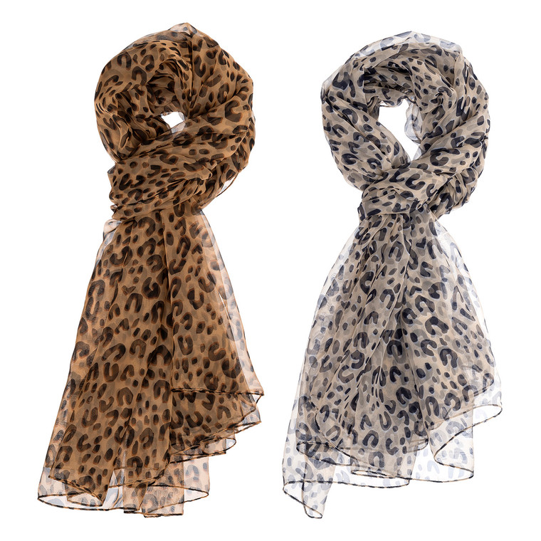 Ease into the animal print trend with our light and airy scarfs! Pair with basic t-shirts, dresses, and tunics to uplift a casual look. Choose from two fabulous colors of leopard print!