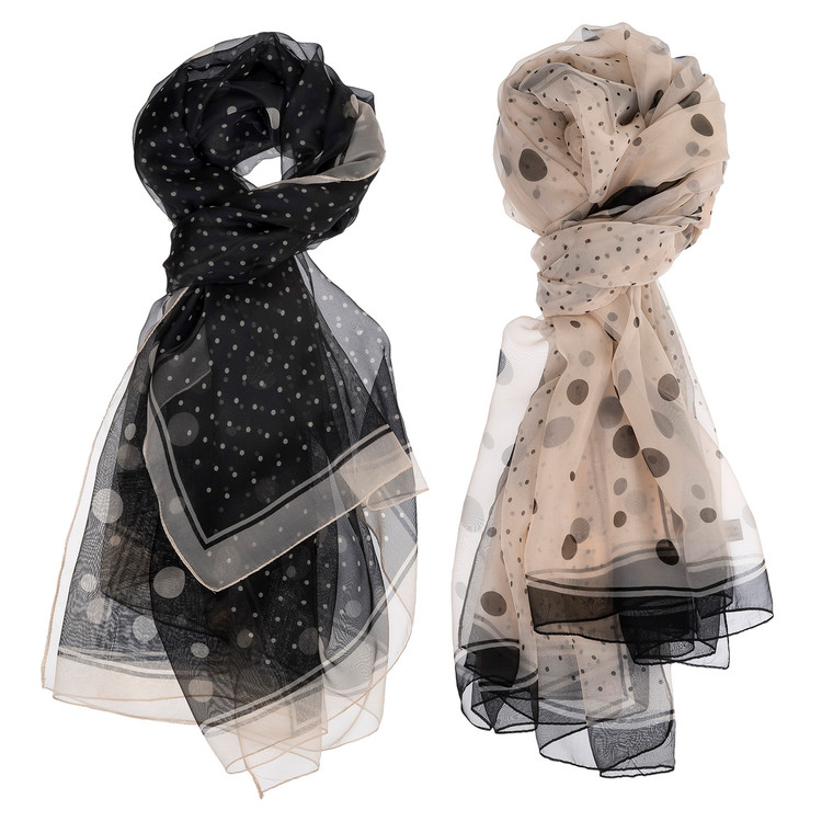 Featuring an airy light fabric, timeless and classic print, and styling versatility, the Differing Dots Scarf will your new must-have for day to night looks. Choose from Black or Cream.